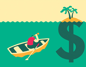 Man in rowboat rowing to view of mutual fund island of cash.