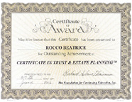 Certificate in trust and estate planning from Foundation of Continuing Education - Rocco Beatrice Sr. - small image.