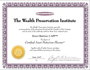 Certifed Asset Protection Planner degree from the Wealth Preservation Institute: Rocco Beatrice