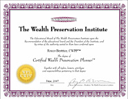 Certifed Wealth Preservation Planner degree from the Wealth Preservation Institute: Rocco Beatrice