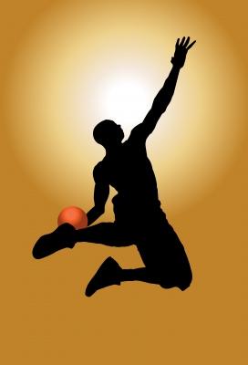 Kobe Bryant slam dunking a basketball