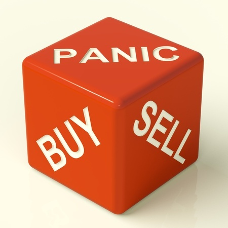 Marketing correction: Panic, Buy, Sell dice